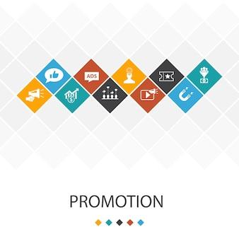 Promoção, conceito moderno de infográficos de modelo de interface do usuário. publicidade, vendas, conversão de leads, atrair ícones