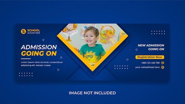Promoção de admissão de educação escolar de crianças mídia social modelo de capa do facebook banner da web