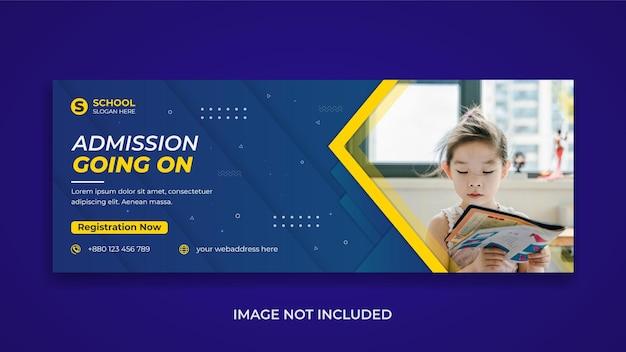 Promoção de admissão escolar de crianças mídia social modelo de capa do facebook design de banner da web