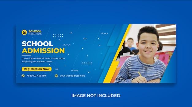 Promoção de admissão para crianças na escola mídia social educacional modelo de capa do facebook web banner design