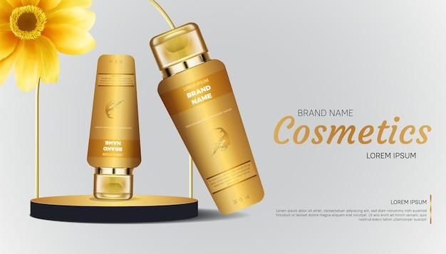 Promoção de banner cosmético com desenho de eucalipto dourado