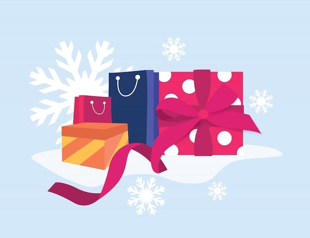 Promoção de banner de compras de inverno venda de caixa de presente on-line
