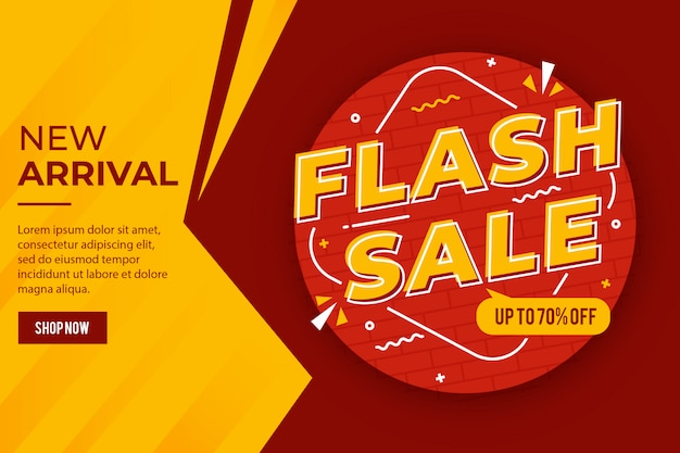 Promoção de banner de desconto de venda em flash