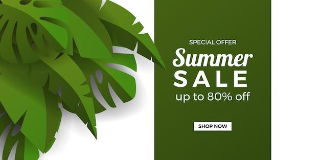 Promoção de banner de oferta de liquidação de verão com folhas tropicais de banana e monstera