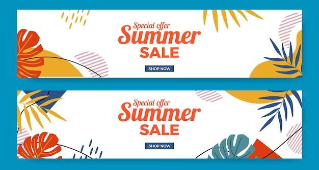 Promoção de banner de oferta de liquidação de verão com selva de folhas no estilo moderno de memphis