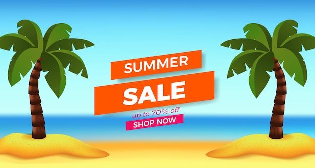 Promoção de banner de oferta de liquidação de verão com vista para a praia de areia e coqueiro
