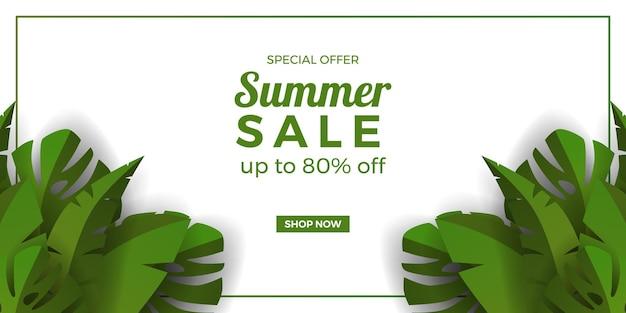 Promoção de banner de oferta de venda de verão com folhas tropicais de banana e monstera em branco