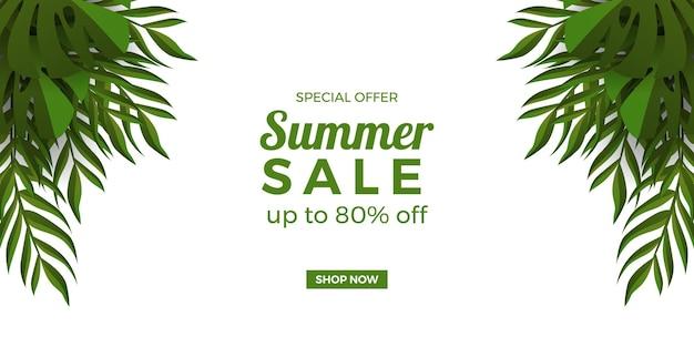 Promoção de banner de oferta de venda de verão com moldura de folhas verdes tropicais