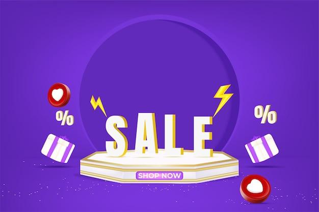 Promoção de banner de super venda com pódio