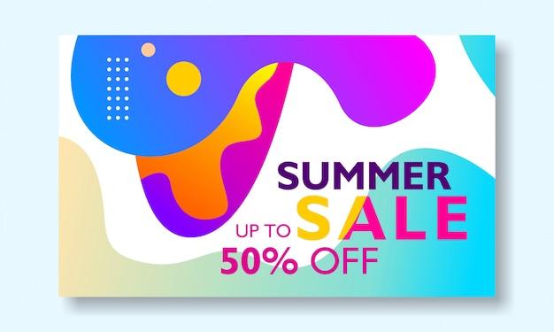 Promoção de banner de venda de verão com forma líquida abstrata colorida
