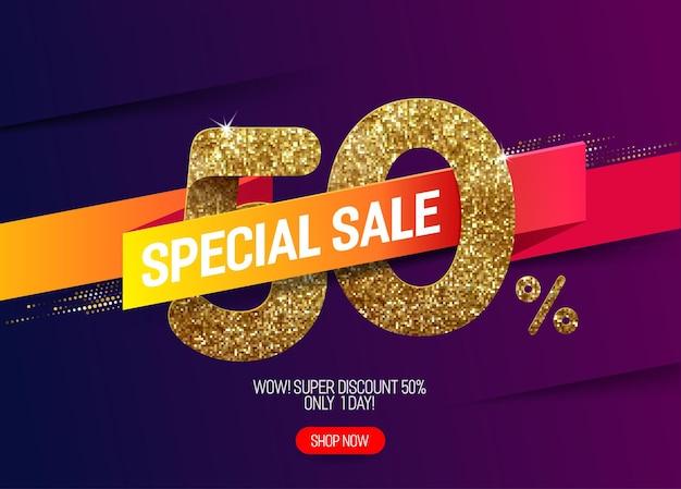 Promoção de brilho dourado com 50% de desconto com fita de papel viva