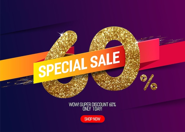Promoção de brilho dourado com 60% de desconto com fita de papel vivo Vetor Premium
