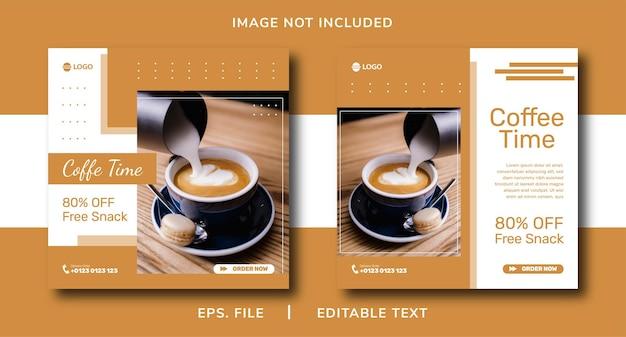 Promoção de café em mídias sociais e design de postagem de banner instagram
