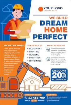 Promoção de cartaz de conserto de casa em estilo design plano