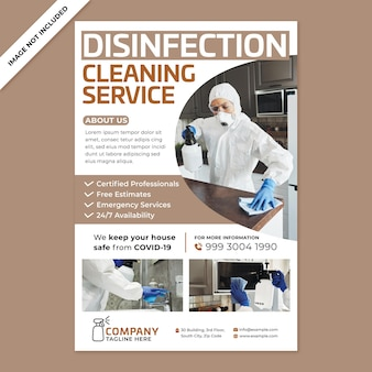 Promoção de cartaz de serviço de limpeza em estilo design plano