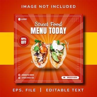 Promoção de comida de rua em mídia social e design de postagem de banner instagram
