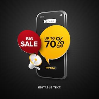 Promoção de compra online de venda de lances com texto editável