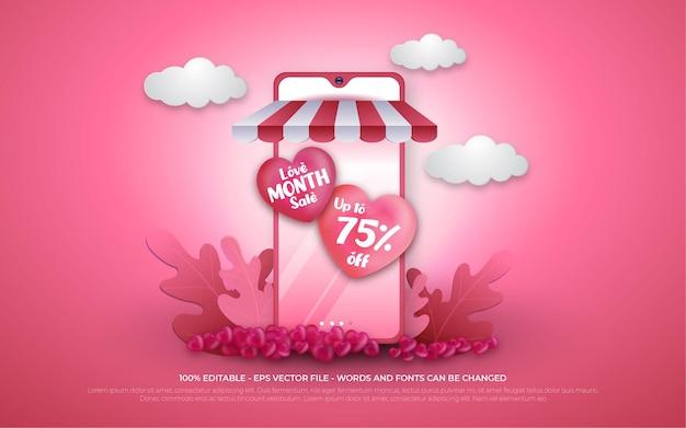 Promoção de compras online de venda do mês amor editável