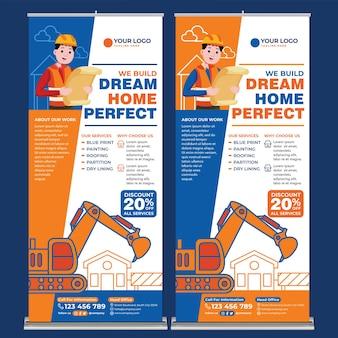 Promoção de conserto de casas modelo de impressão de banner enrolado em estilo design plano
