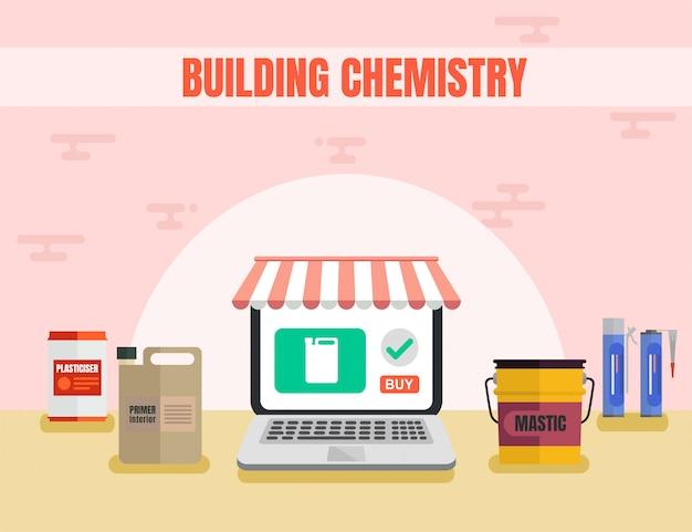 Promoção de construção de loja de química plana