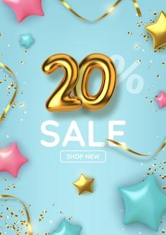 Promoção de desconto de 20% feita de balões de ouro realistas com estrelas