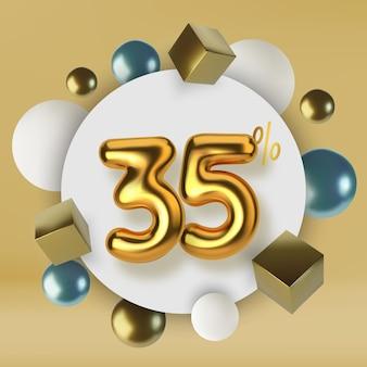 Promoção de desconto de 35 descontos em venda de texto dourado 3d número na forma de balões dourados