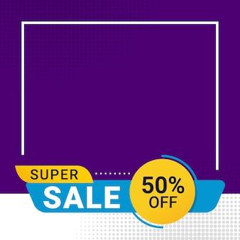 Promoção de desconto em banner de super venda com espaço de texto