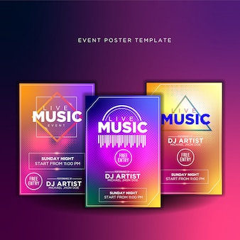 Promoção de design de poster de música ao vivo