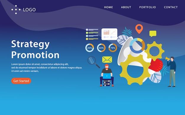 Promoção de estratégia, modelo de site, em camadas, fácil de editar e personalizar, conceito de ilustração