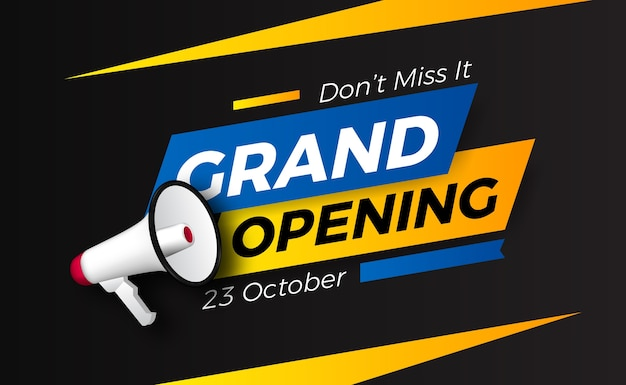 Promoção de evento de inauguração com megafone. modelo de banner de pôster