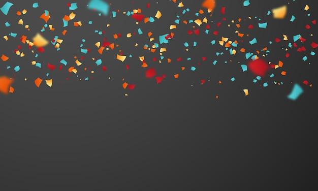 Promoção de férias do modelo de design de confete, ilustração do vetor de celebração do fundo.