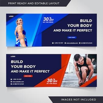 Promoção de fitness e corporativa para mídias sociais instagram post banner template