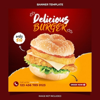 Promoção de hambúrguer delicioso e menu de comida mídia social instagram post banner template design vector