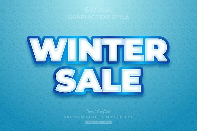 Promoção de inverno com efeito de estilo de texto editável premium