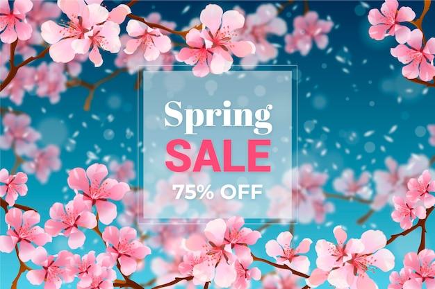Promoção de liquidação de primavera borrada realista Vetor grátis