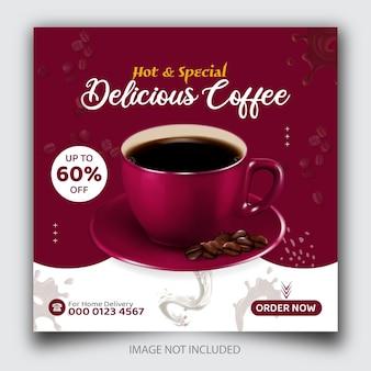 Promoção de menu de bebidas em cafeteria mídia social ou modelo de banner de postagem do instagram