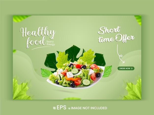 Promoção de menu de vegetais saudáveis oferta modelo de banner da web vetor premium