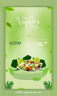 Promoção de menu de vegetais saudáveis promoção de mídia social oferta banner de história do instagram premium vector