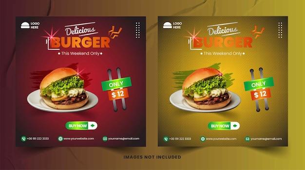 Promoção de mídia social burger food e modelo de design de postagem de banner instagram