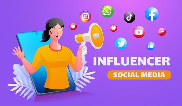 Promoção de mídia social com megafone