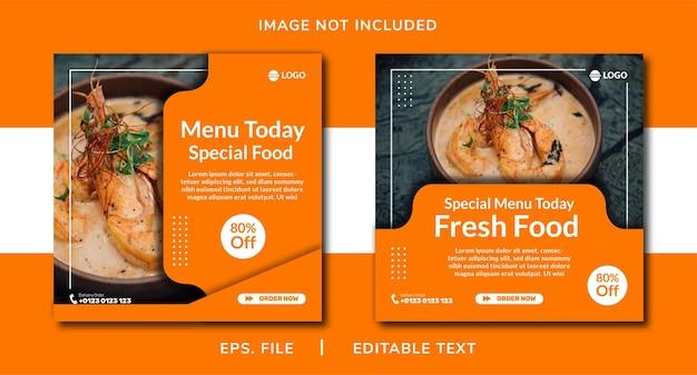 Promoção de mídia social de alimentos e design de postagem de banner instagram