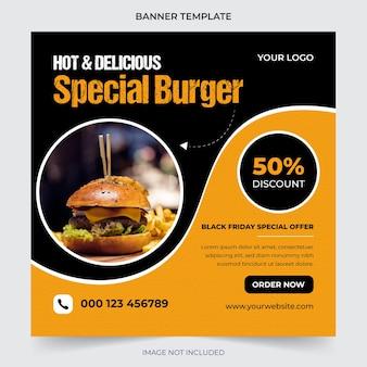 Promoção de mídia social de alimentos e modelo de design de postagem de banner instagram premium vector