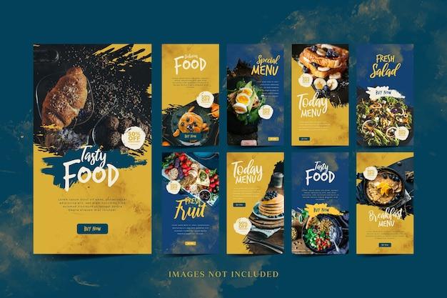 Promoção de mídia social de alimentos e modelo de história do instagram