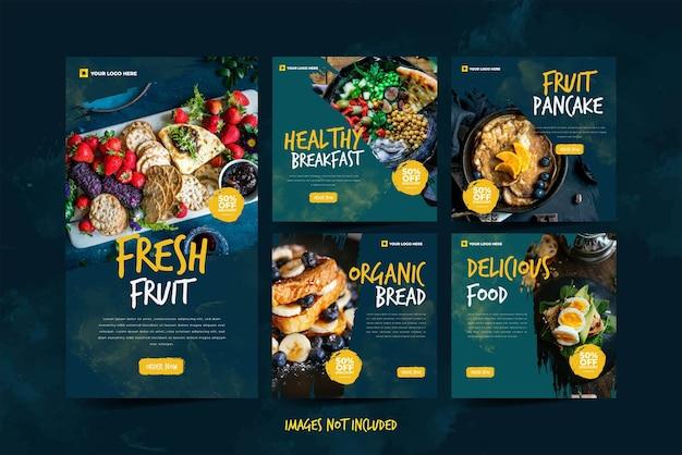 Promoção de mídia social de alimentos frescos e saborosos para o modelo do instagram