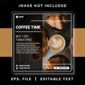 Promoção de mídia social de cafeteria e design de postagem de banner instagram