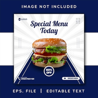 Promoção de mídia social de comida de hambúrguer e design de postagem de banner do instagram