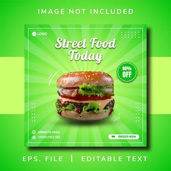 Promoção de mídia social de comida de rua de hambúrguer e design de postagem de banner do instagram