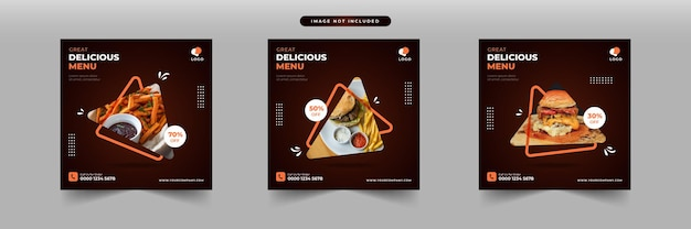 Promoção de mídia social de fast food e modelo de design de postagem de banner