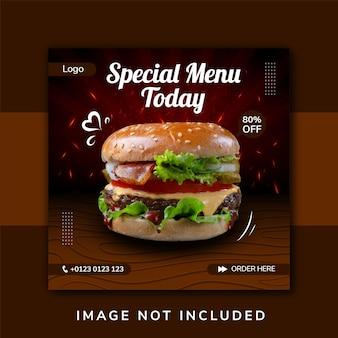 Promoção de mídia social de hambúrguer alimentar e design de postagem de banner instagram