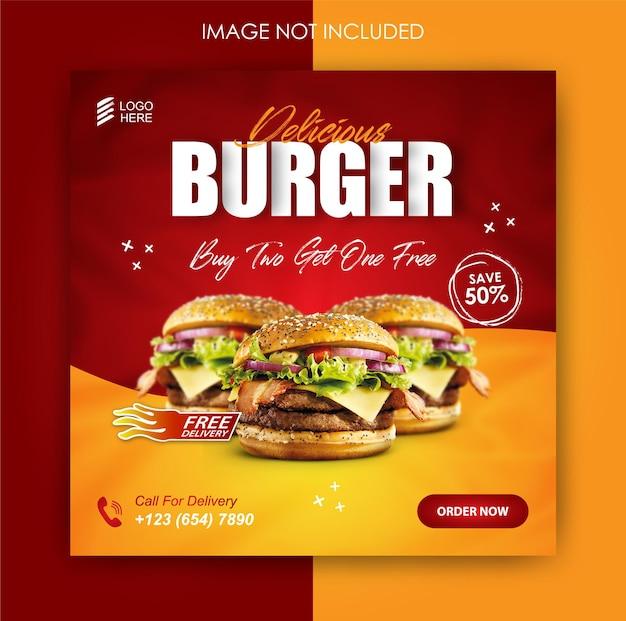 Promoção de mídia social de hambúrguer comidas e modelo de postagem de banner